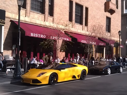 Ferrari outside Parc Restaurant, Philadelphia, Rittenhouse Square