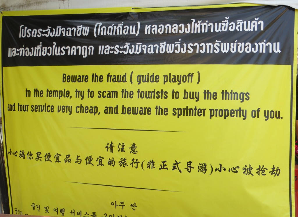 Sign at Wat in Chiang Mai, Thailand
