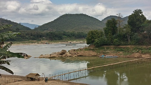 Seasonal bamboo bridge over the Nam Kahn River, Luang Prabang, Laos