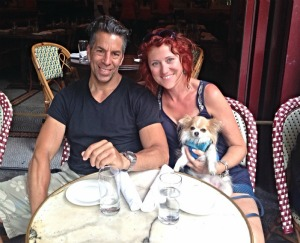 Enjoying an afternoon treat at the Parc Brasserie on Rittenhouse Square. Dogs welcome.