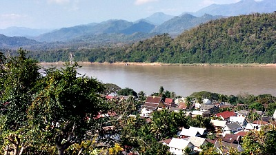 Looking down on Luang Prabang and the Mekong River from our ascent up Phu Si.