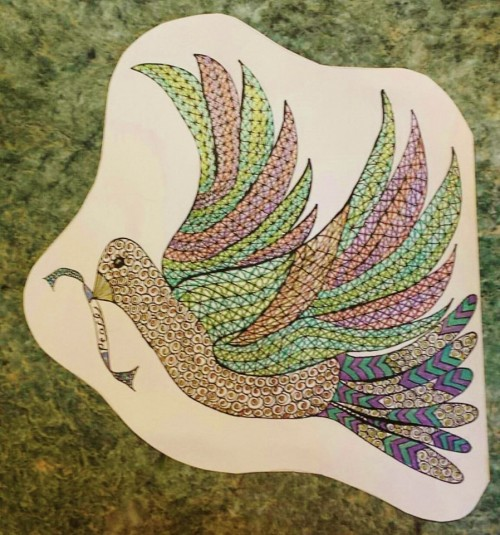Zentangle Inspired Art Peace Bird