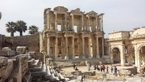 Roman ruins of the library at Ephesus in western Turkey