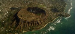 Aerial view of the Diamond Head crater on Oahu, Hawaii