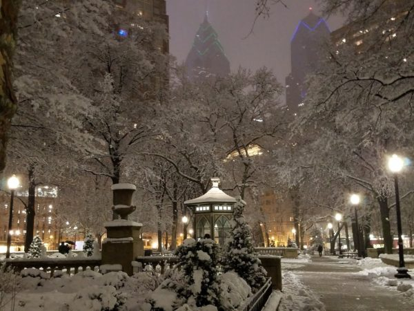 Rittenhouse Square snow scene in Philadelphia march 2018
